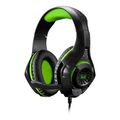 Headset Gamer Warrior Rama P3+Usb Stereo Adaptador P2 Led Verde - Ph299 Ph299