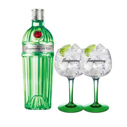 Combo Gin Tanqueray Ten 750Ml + 2 Taças Tanqueray Importadas